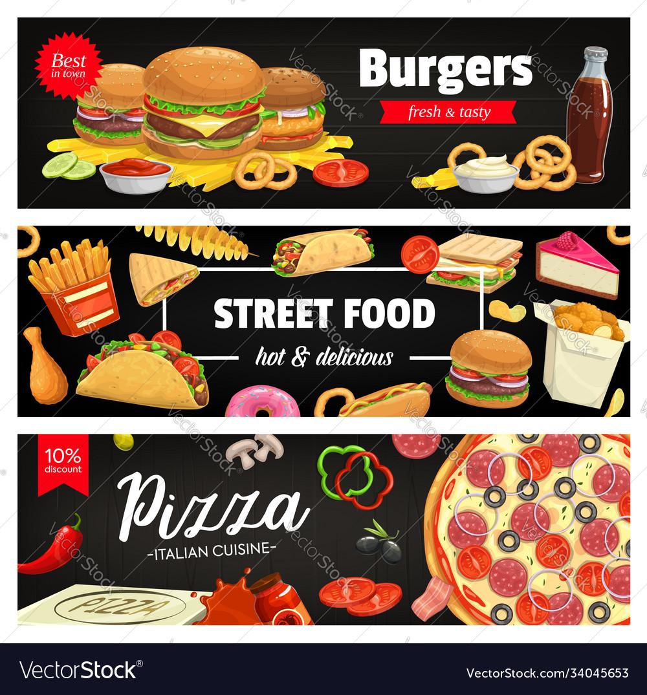 Fast food banners cartoon street food meals