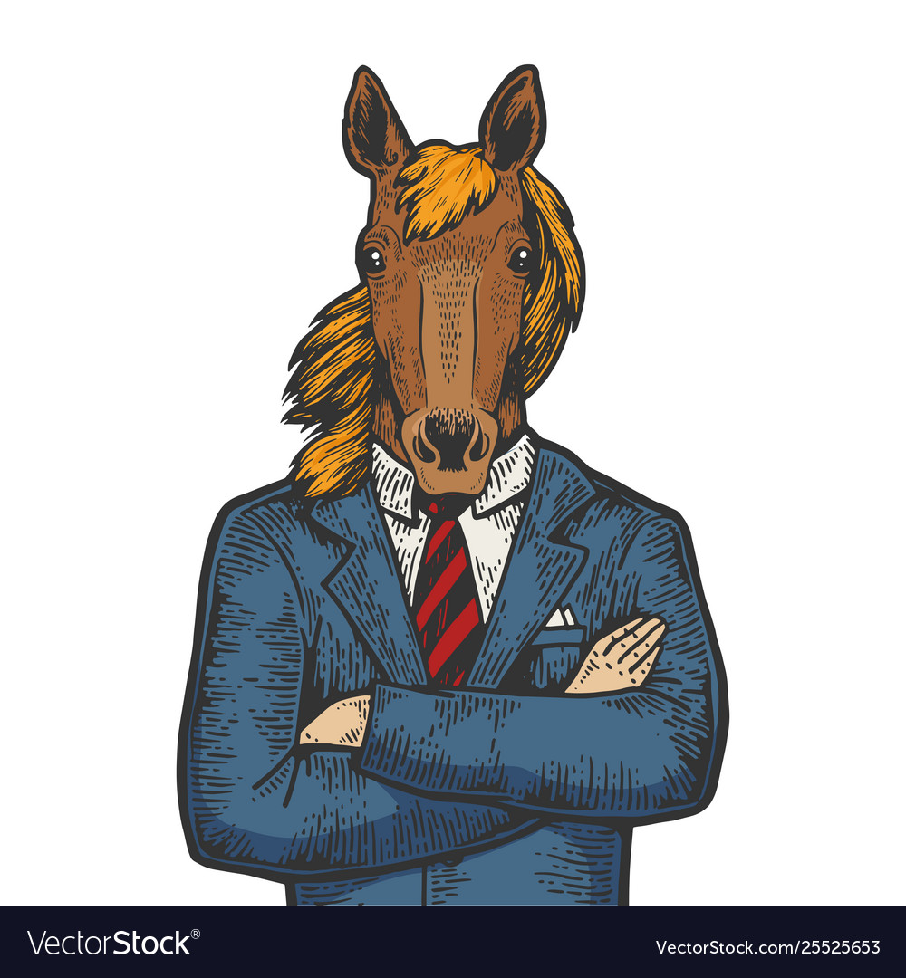 Horse businessman color sketch engraving