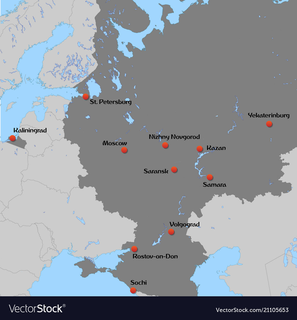 Map Of European Russia Royalty Free Vector Image