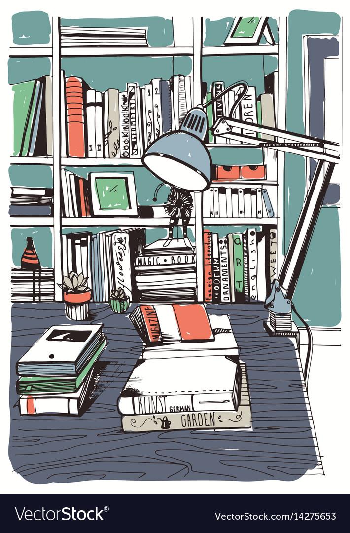 Modern interior home library bookshelves hand
