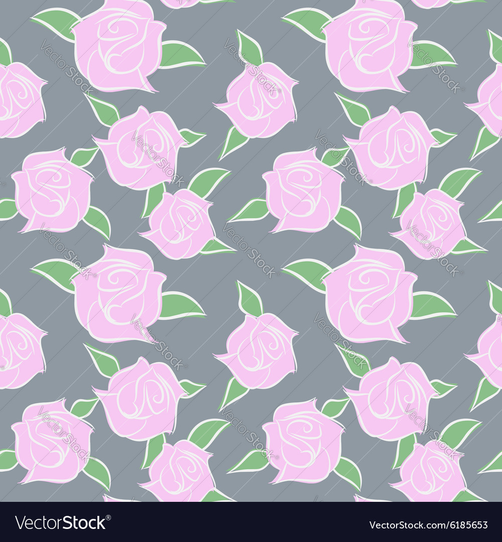 Pink Roses seamless patern Flowers in pastel