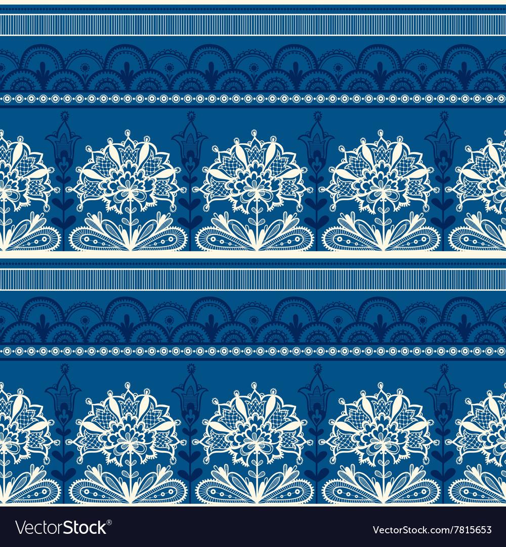 Seamless Blue Black Lace Pattern
