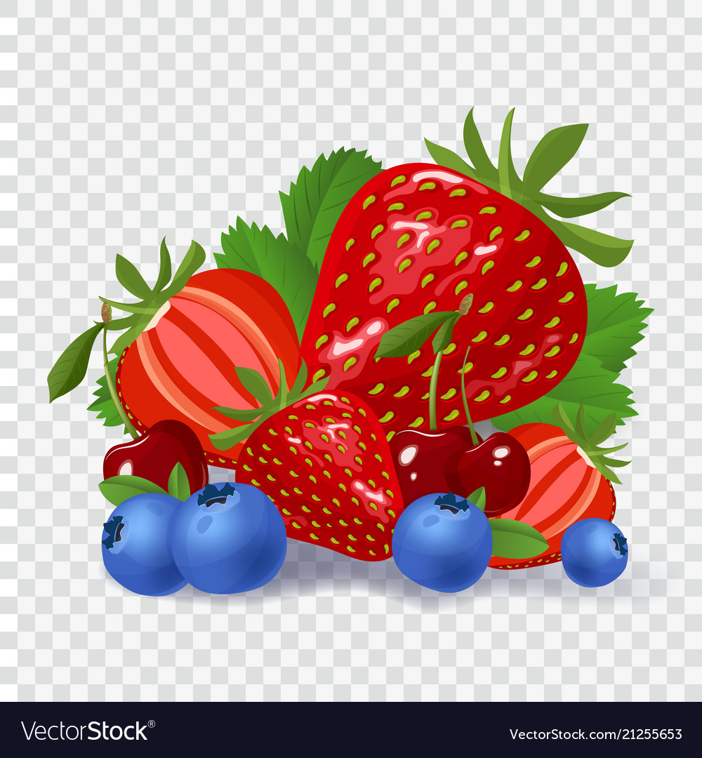 Set of berries on checked background