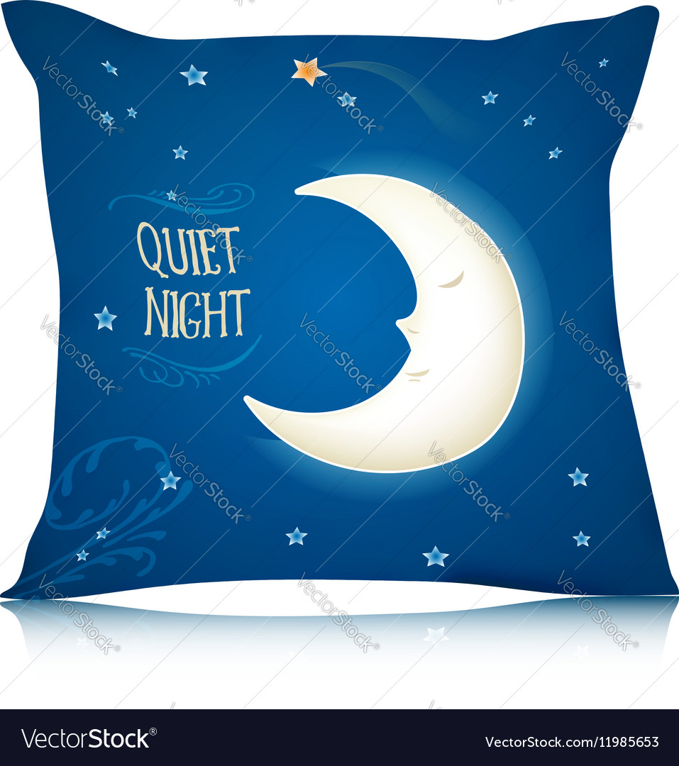 Square Pillow Design with Cartoon Sleeping Moon