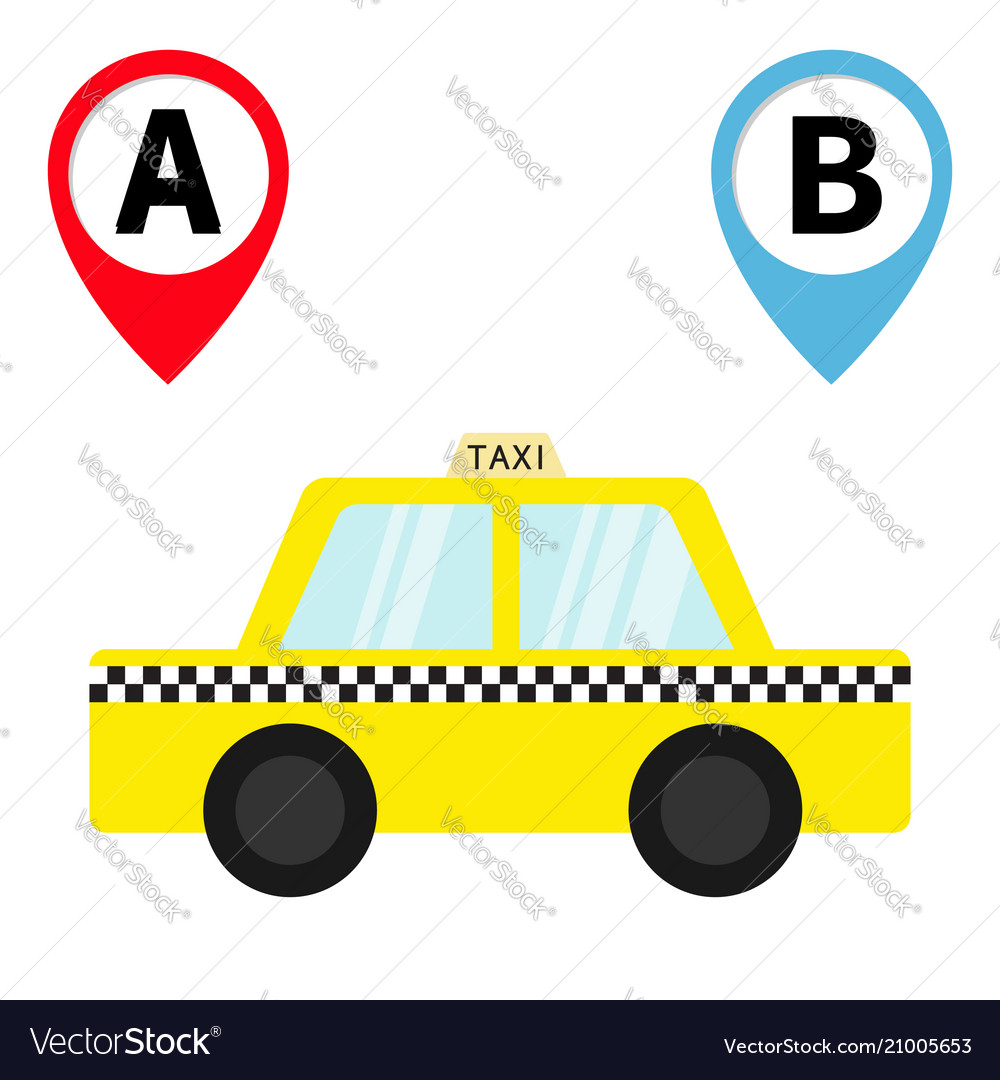 Taxi car cab icon placemark map pointer