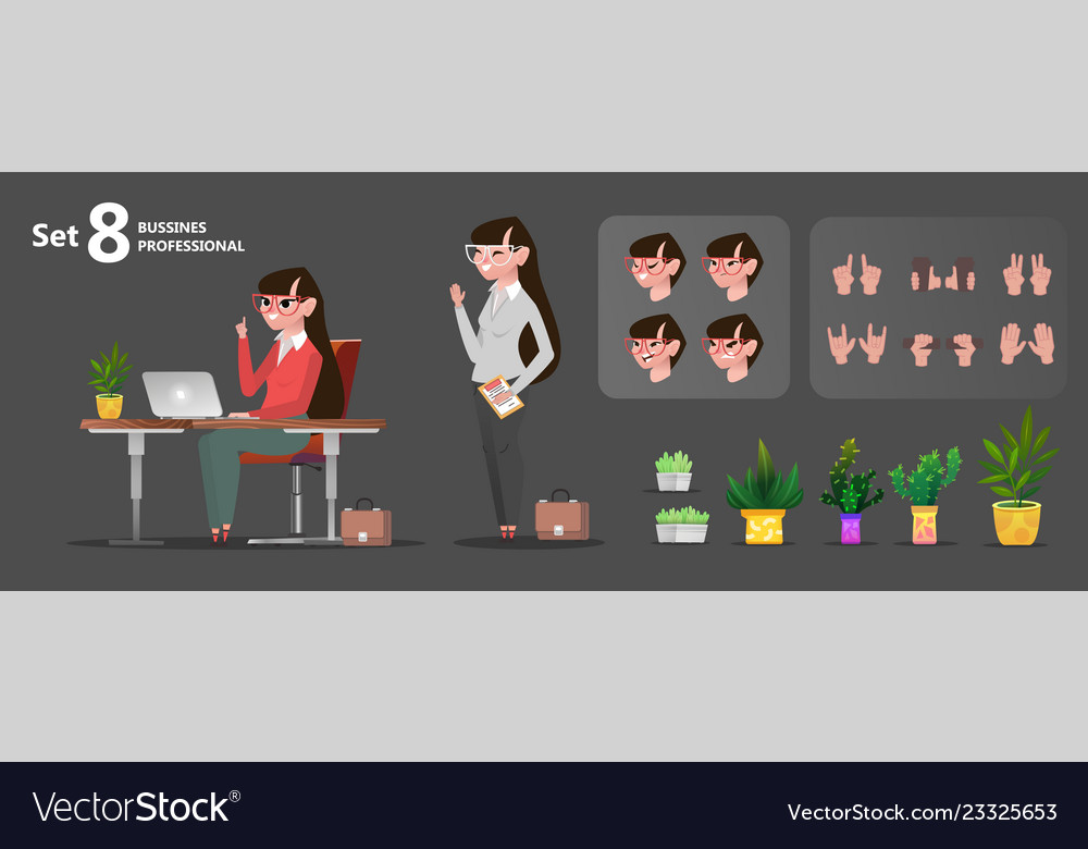 Woman office characters set for animation