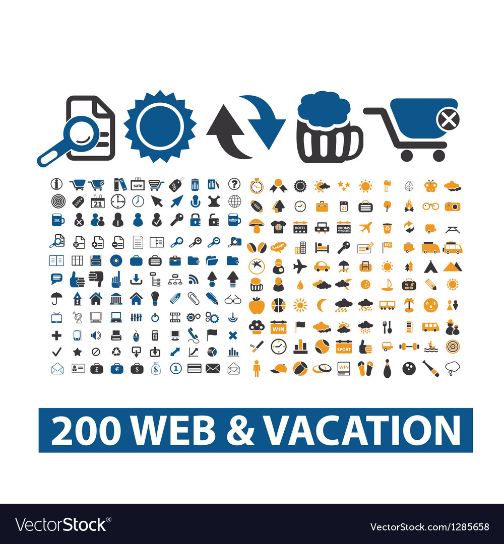 20 web vacation icons set