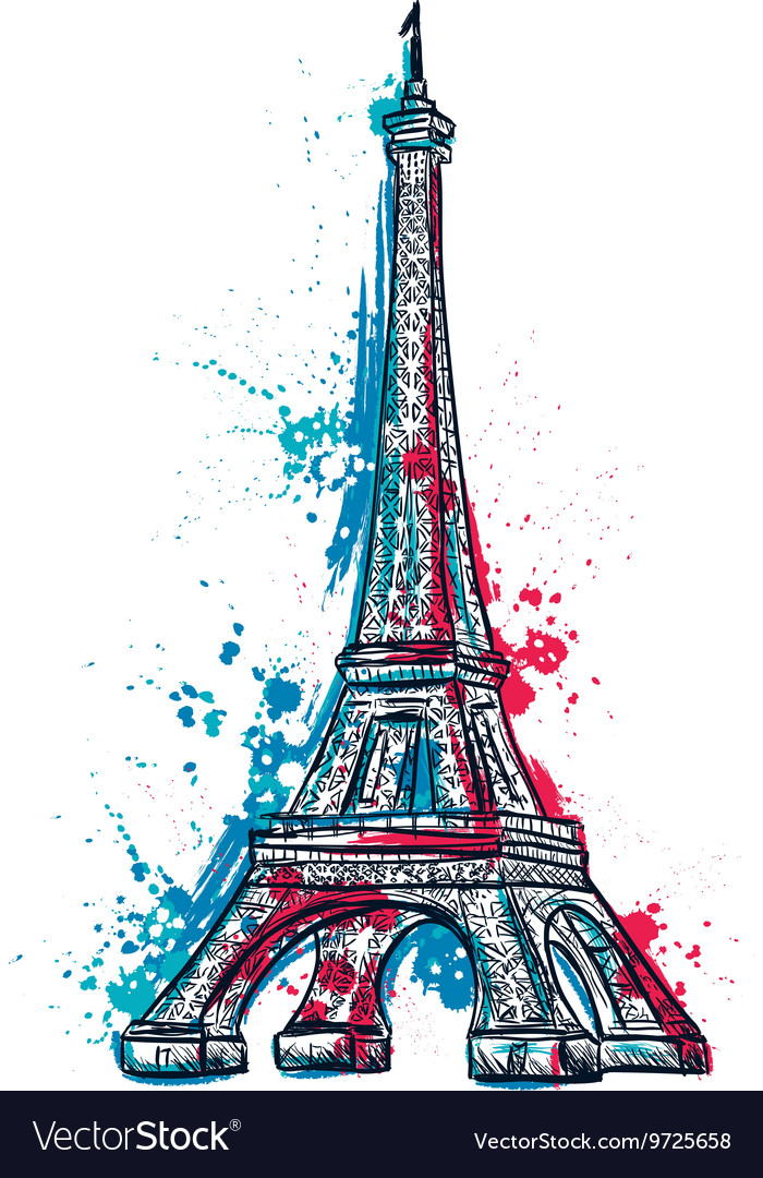 Eiffel tower with abstract splashes in watercolor