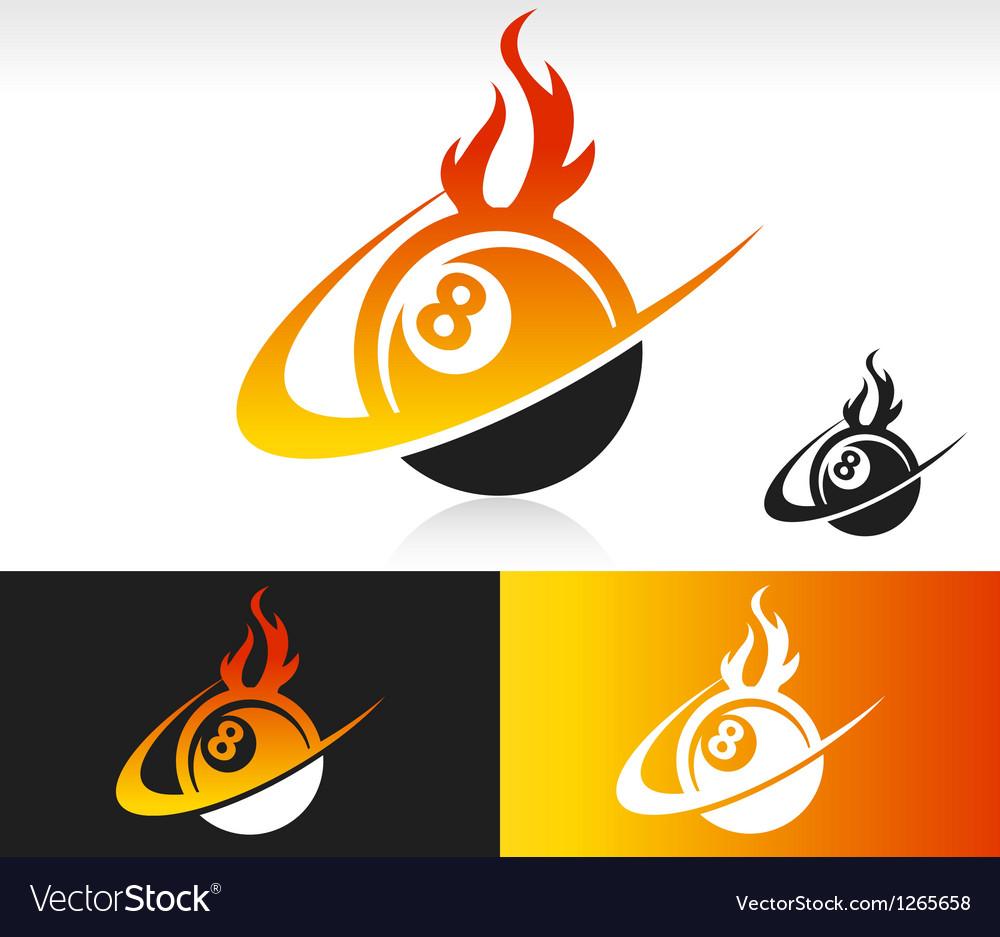 Fire Swoosh Eight Ball Logo Icon