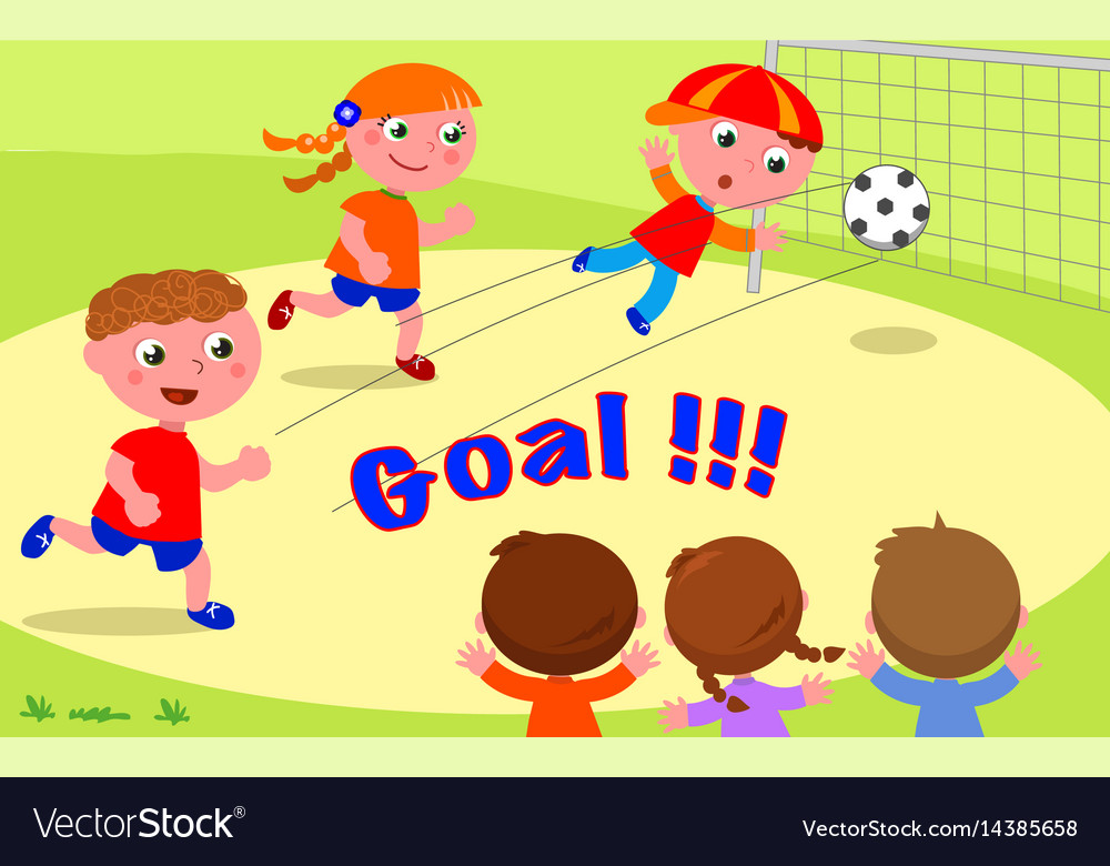 Goal friends playing soccer at the park