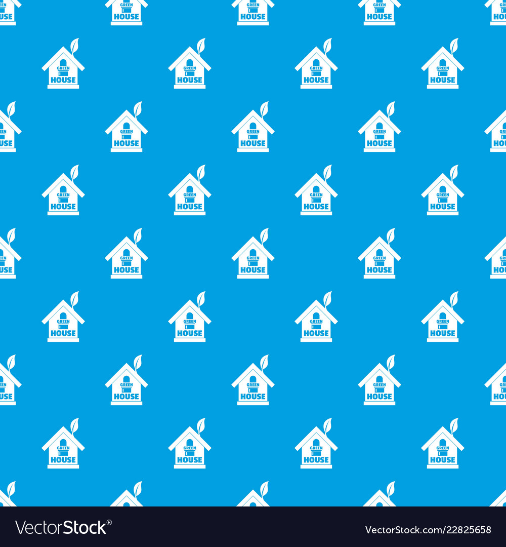 Green house pattern seamless blue