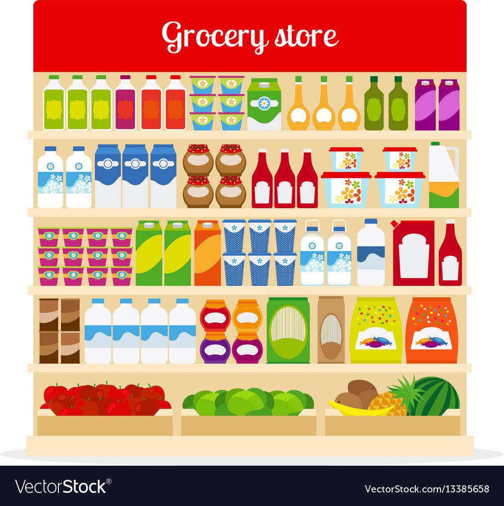 Grocery store shelves with food