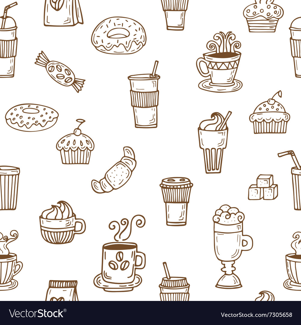 Hand drawn seamless pattern with coffee cups