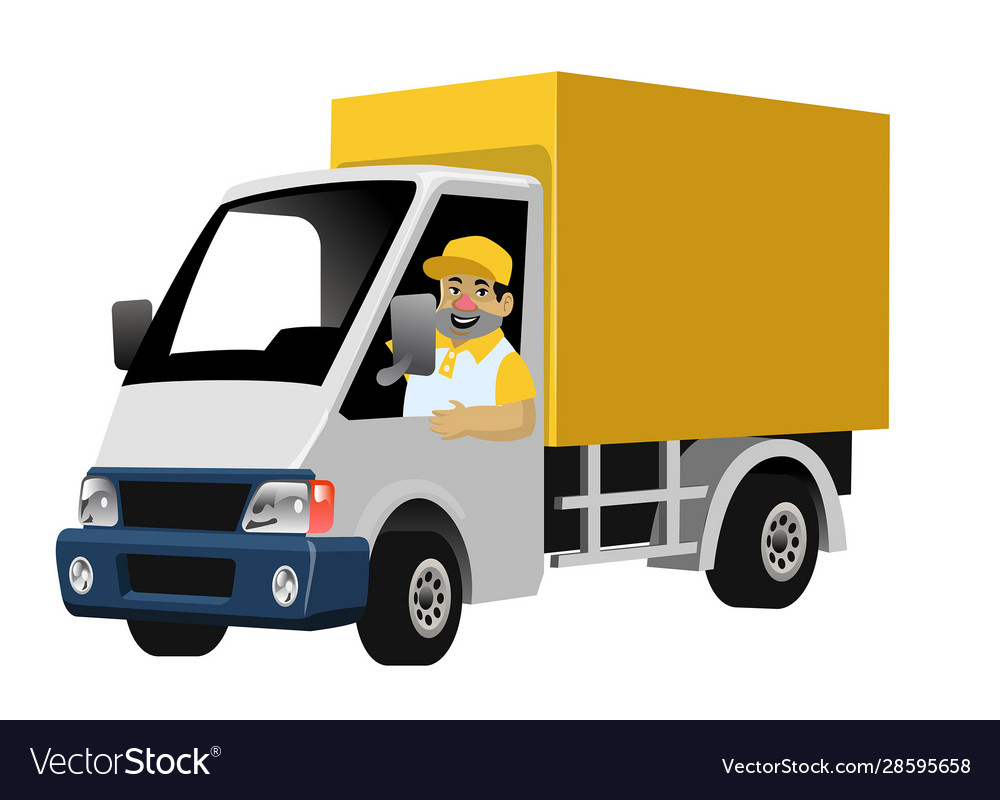 Happy worker driving delivery truck box