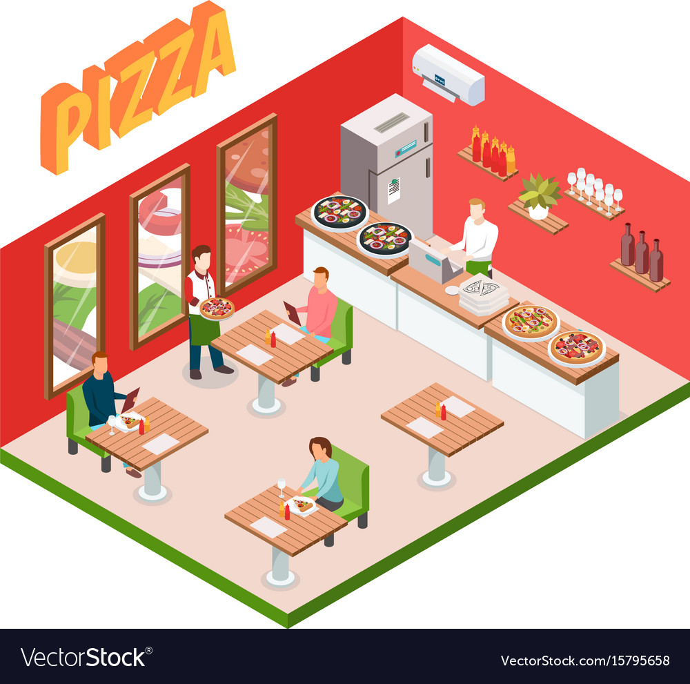 Isometric pizzeria background