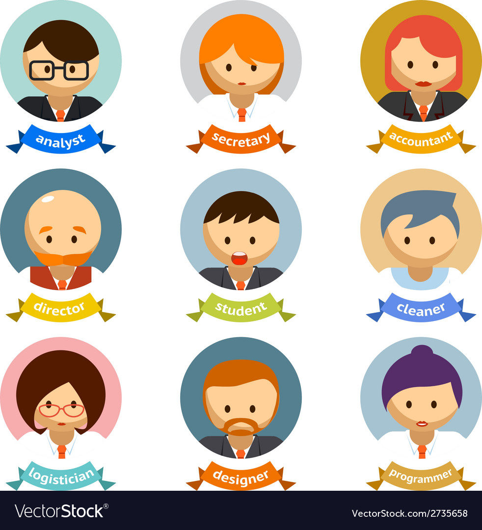 Office Cartoon Character Avatars with Ribbons vector image
