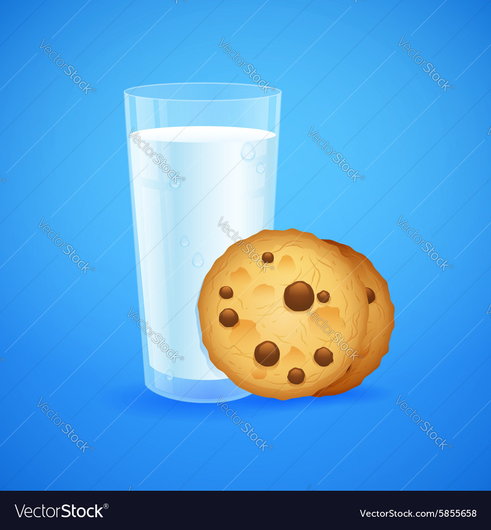 Realistic set of glass of milk and cookies vector image