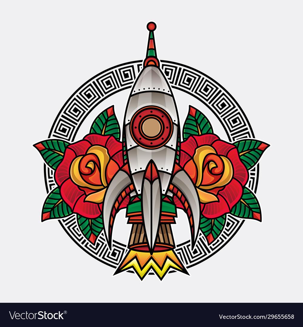 Rocket traditional tattoo
