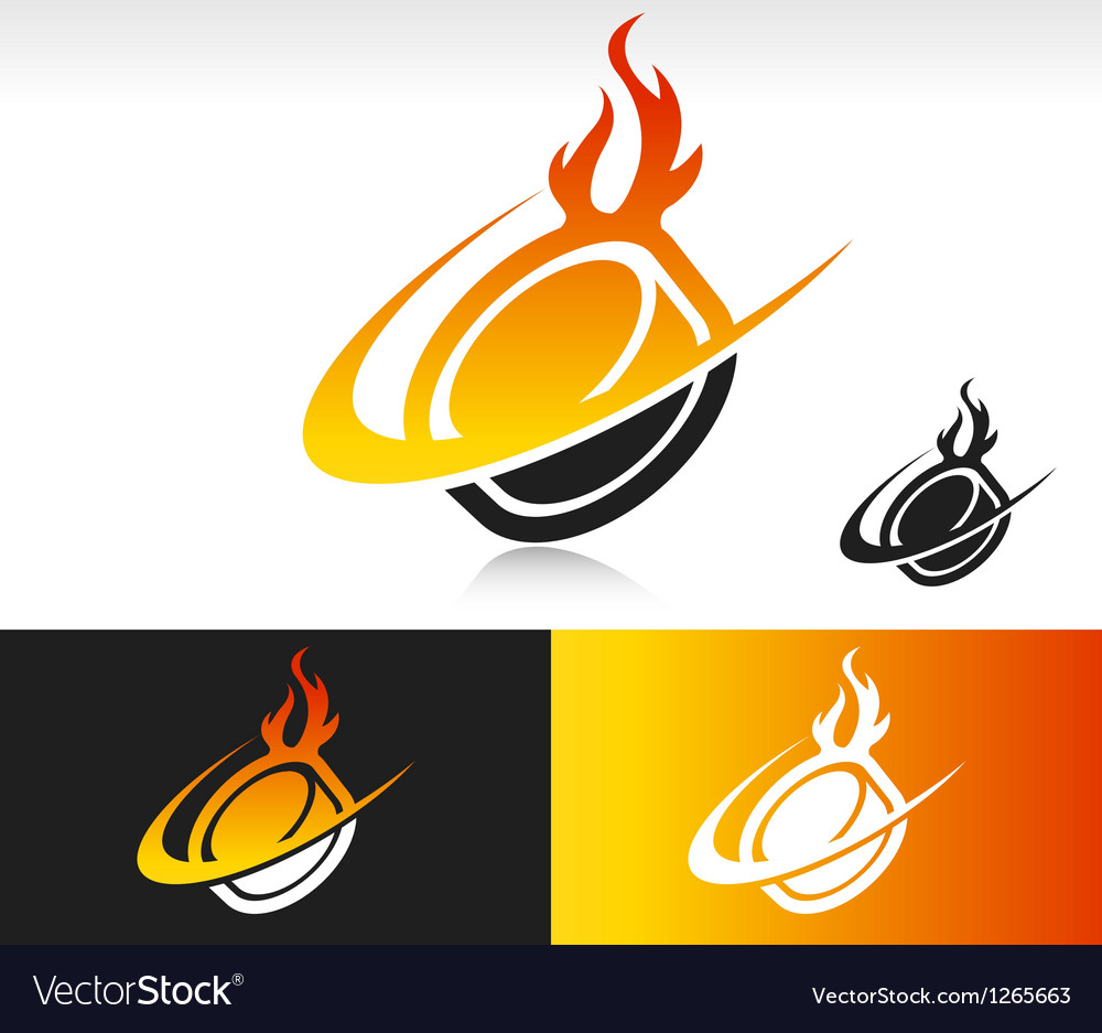 Fire Swoosh Hockey Puck Logo Icon