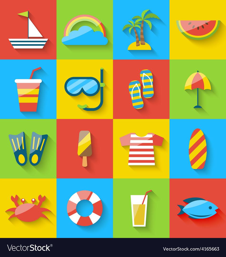 Flat icons of holiday journey summer symbols sea