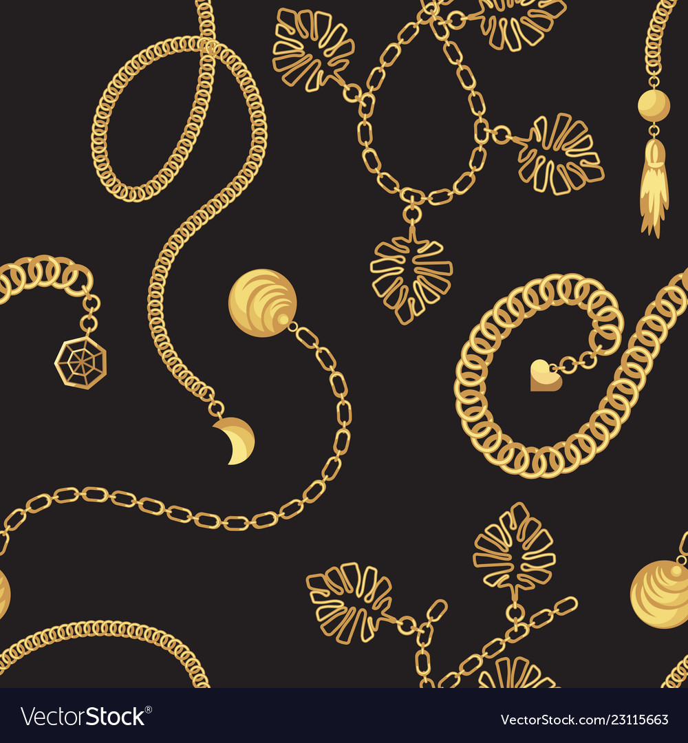 Gold Chain Belt Pattern Fashion Design Royalty Free Vector
