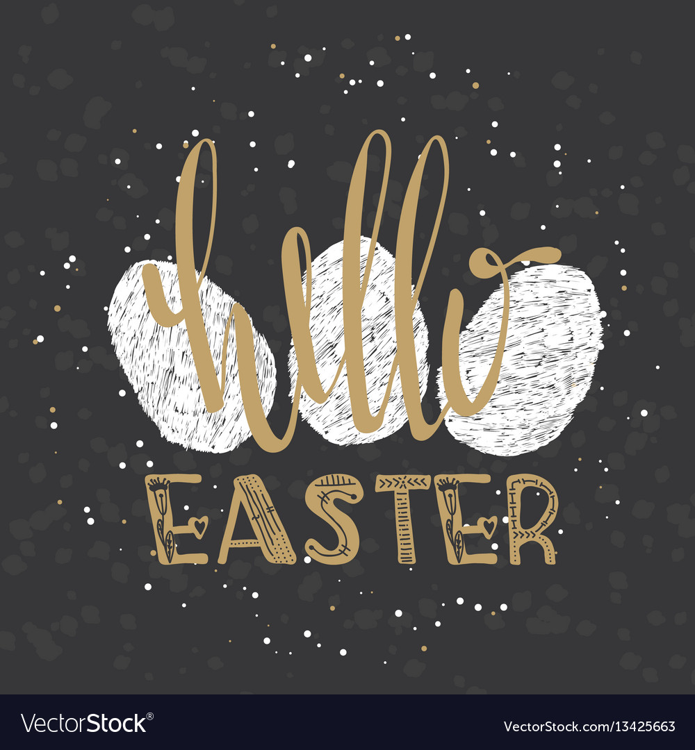 Hello easter lettering modern calligraphy style
