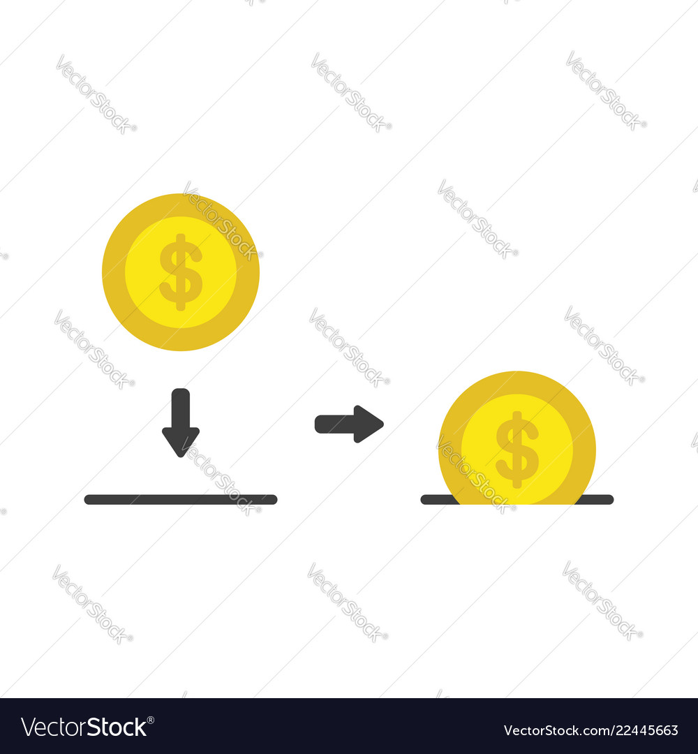 Icon concept of dollar coin inside moneybox hole