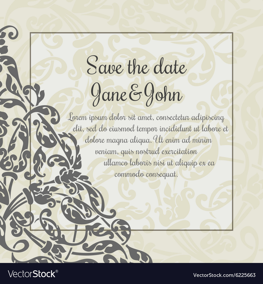 Invitation card template with flower decoration