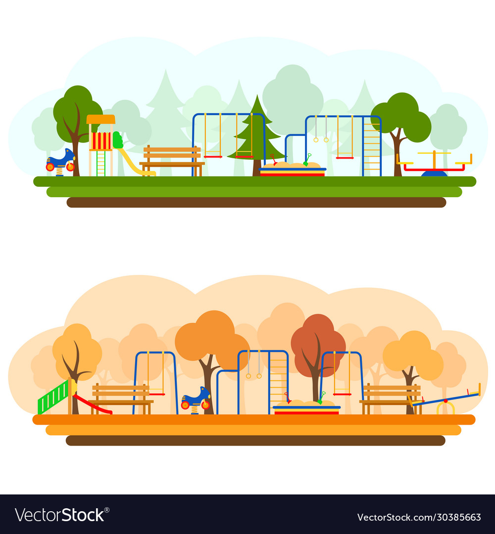 Kids playground with playing equipment in summer