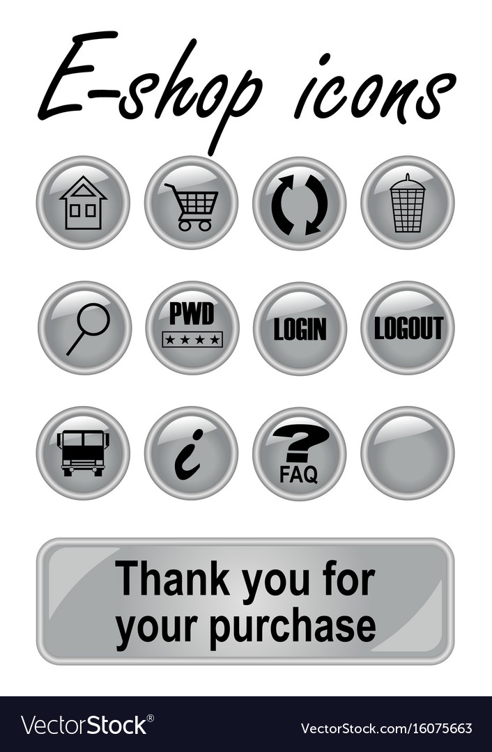 Metallic e-shop buttons set for website elegant