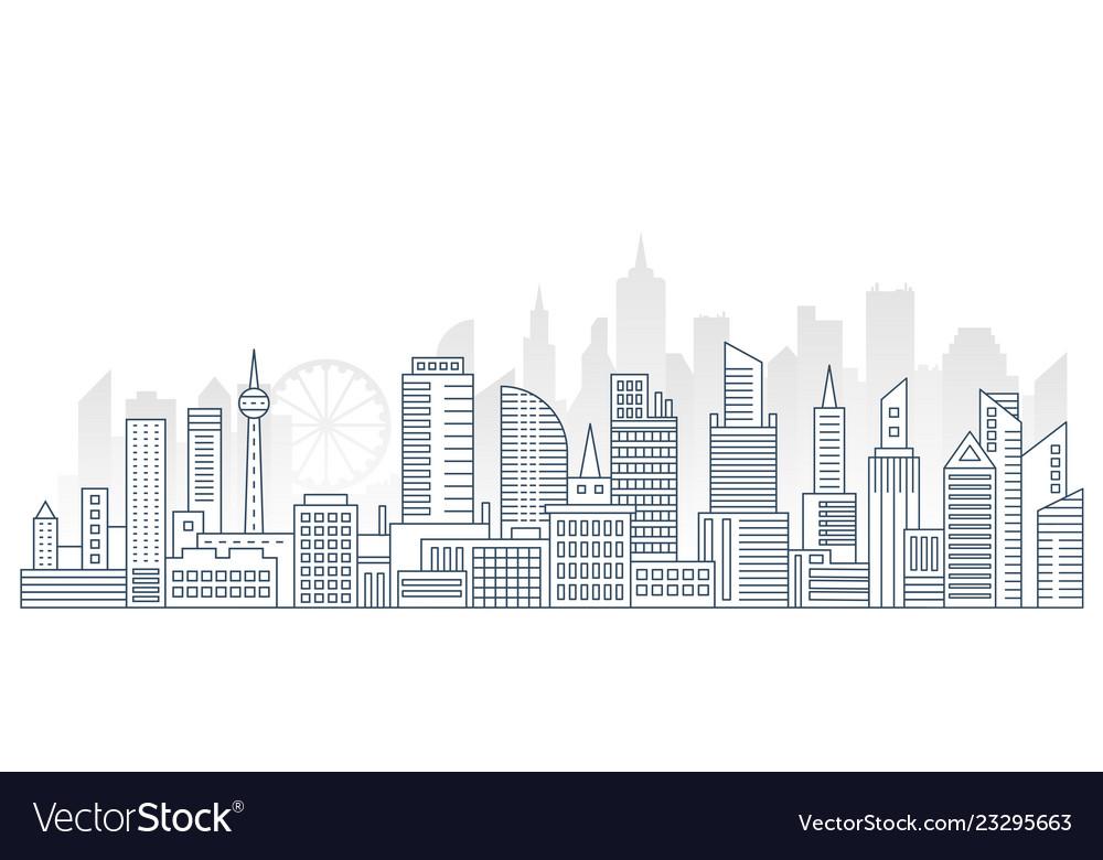 Modern outline line big urban city panorama