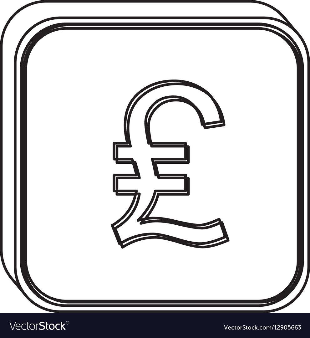 Monochrome square contour with currency symbol of