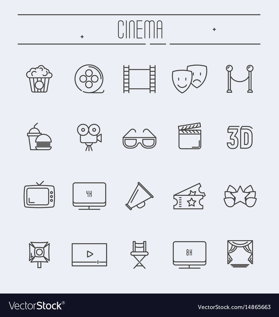 Set cinema and movies related thin line icons