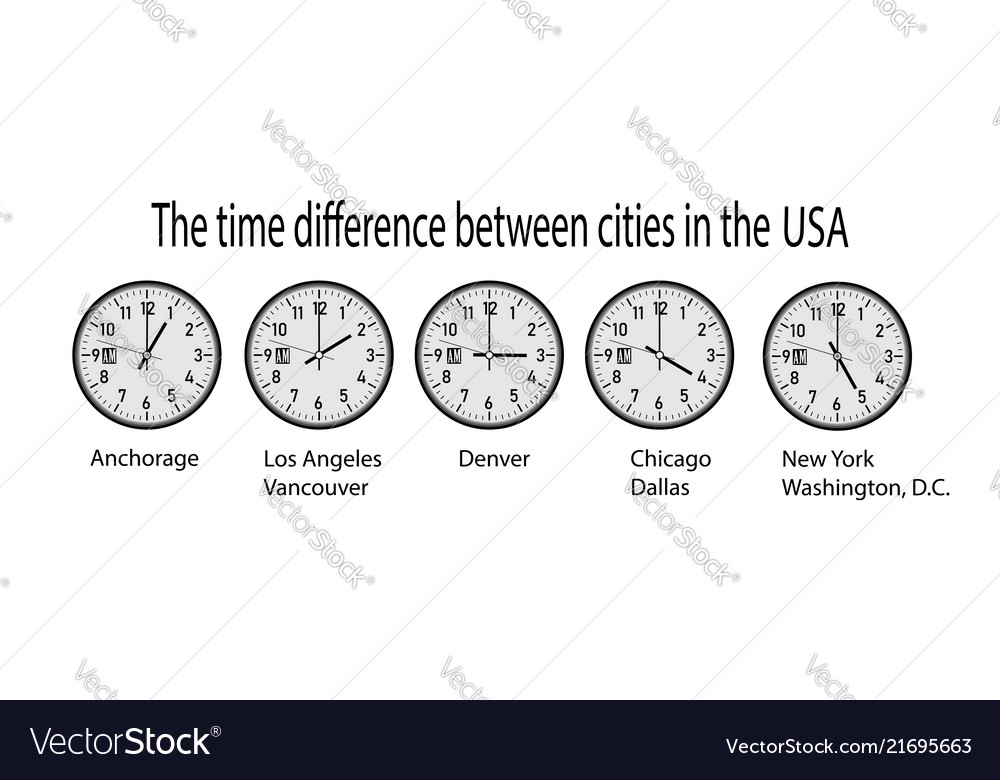 wall clock showing time in different cities of usa