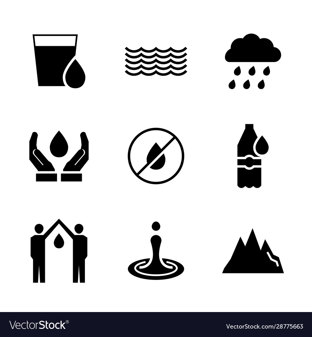 Water icon set in flat style symbol