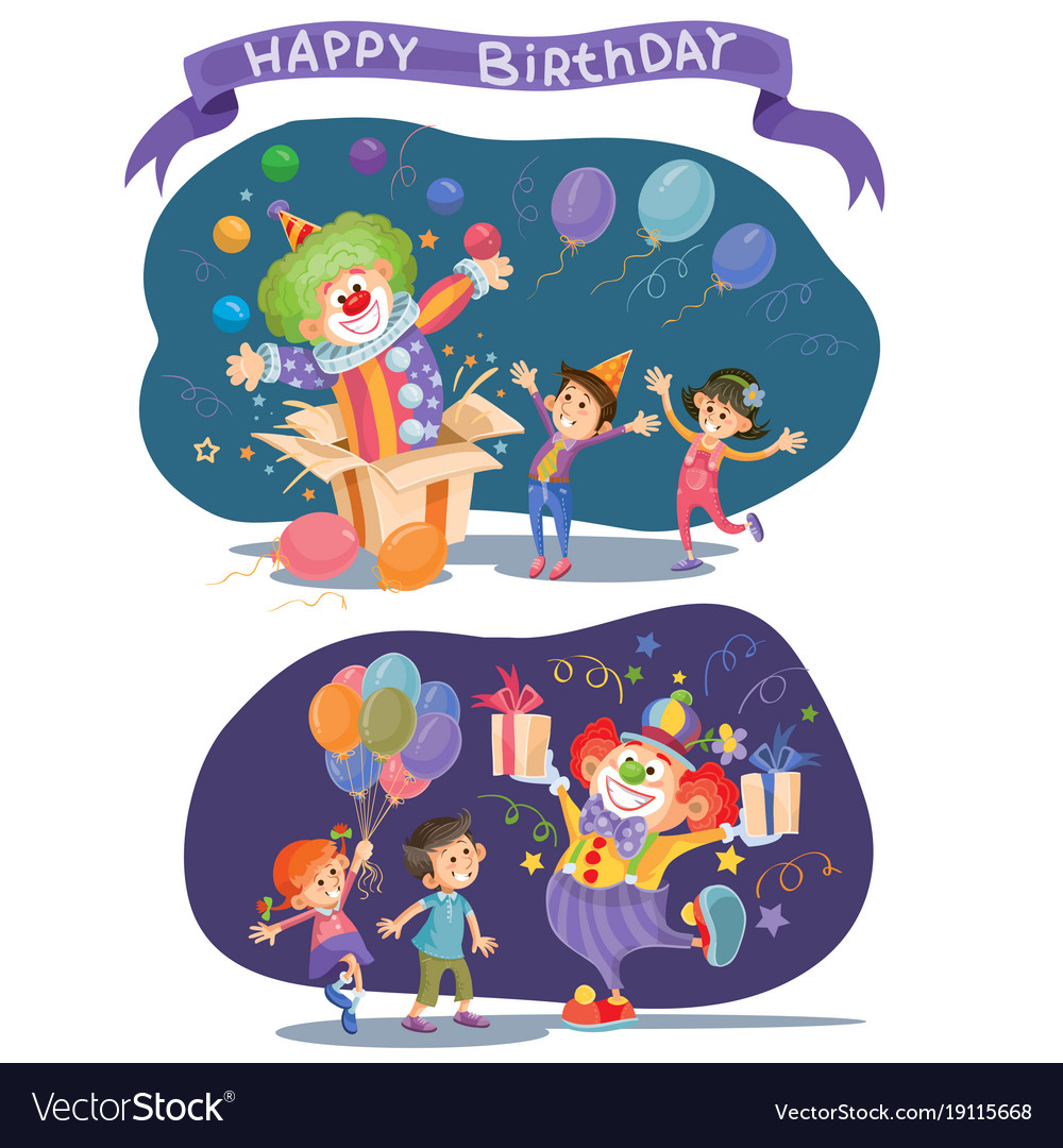 Birthday background with happy kids and clown