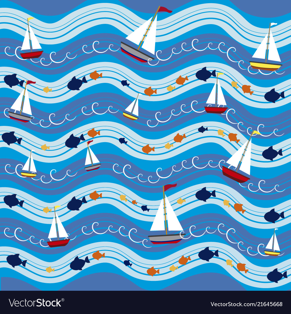 Boats in the sea pattern background