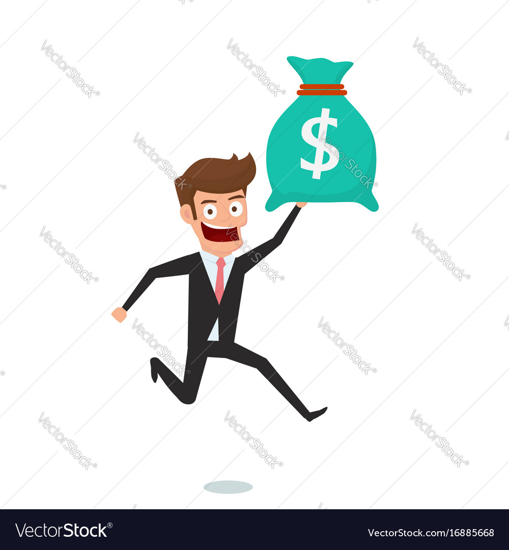 Businessman holding money bag concept of earnings