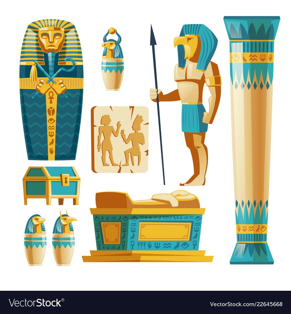 Cartoon set ancient egypt objects