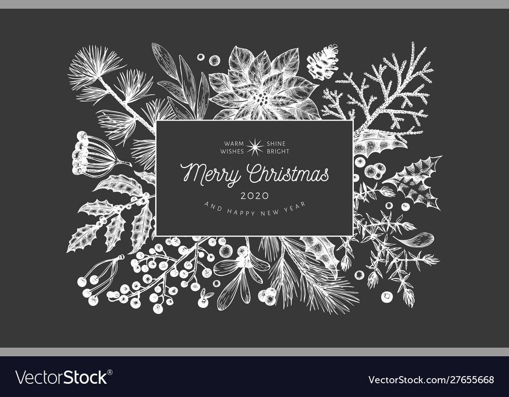 Christmas hand drawn greeting card template