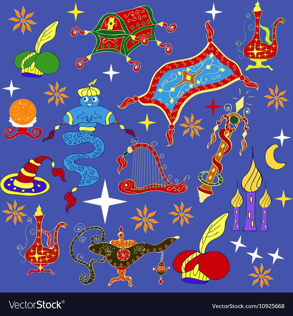 Fairytale Aladdin story theme elements