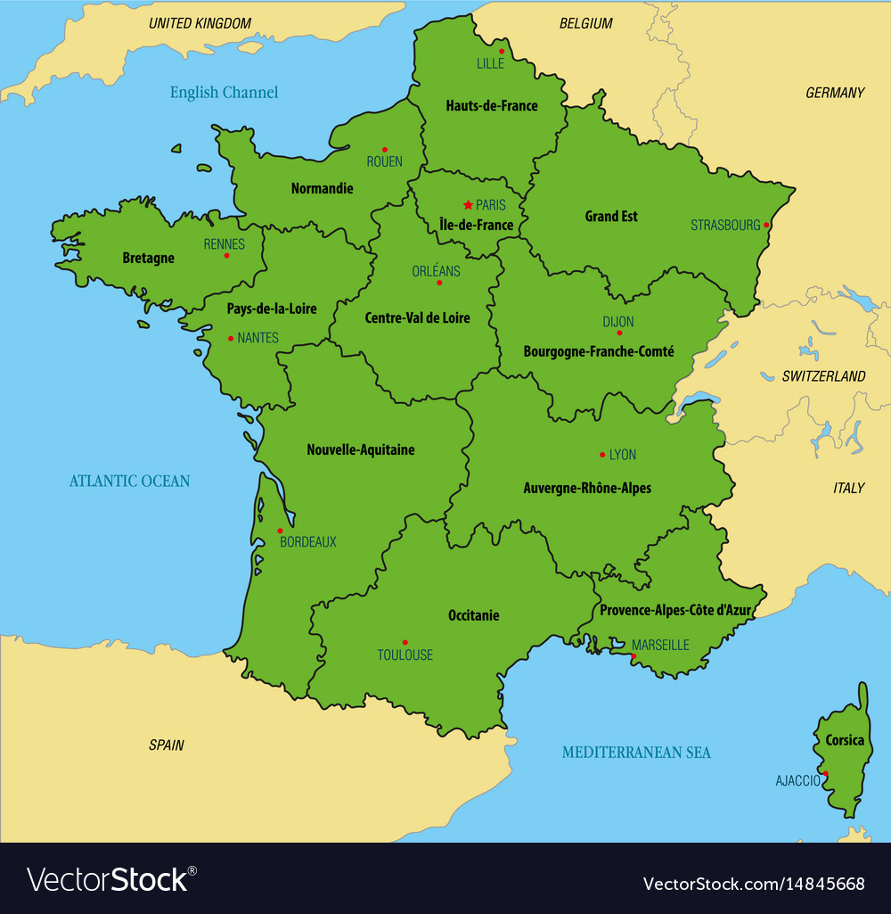 Map Of Regions Of France.France Map With Regions And Their Capitals