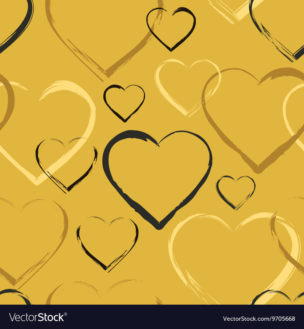 Golden seamless pattern with hearts