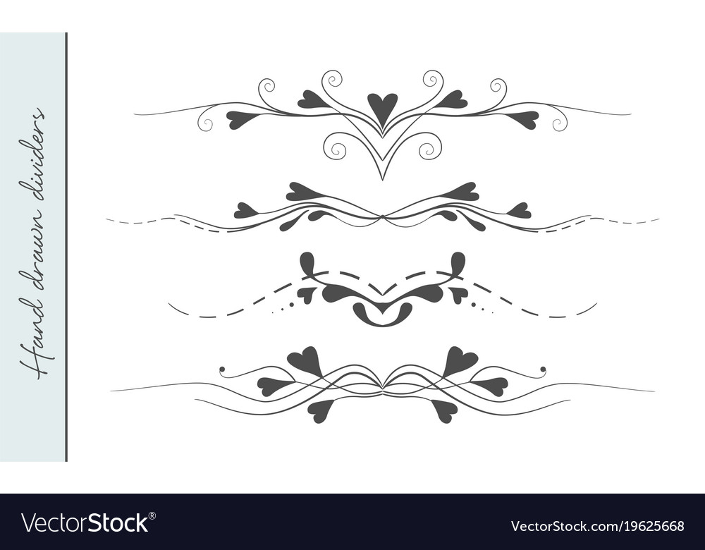 Hand drawn flourishes text divider graphic design