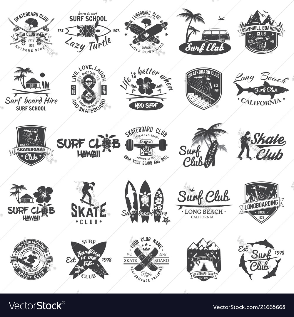 Set of skateboard longboard and surf club badges
