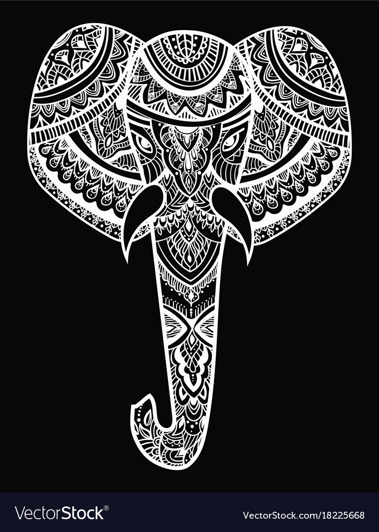 Stylized head an elephant ornamental portrait