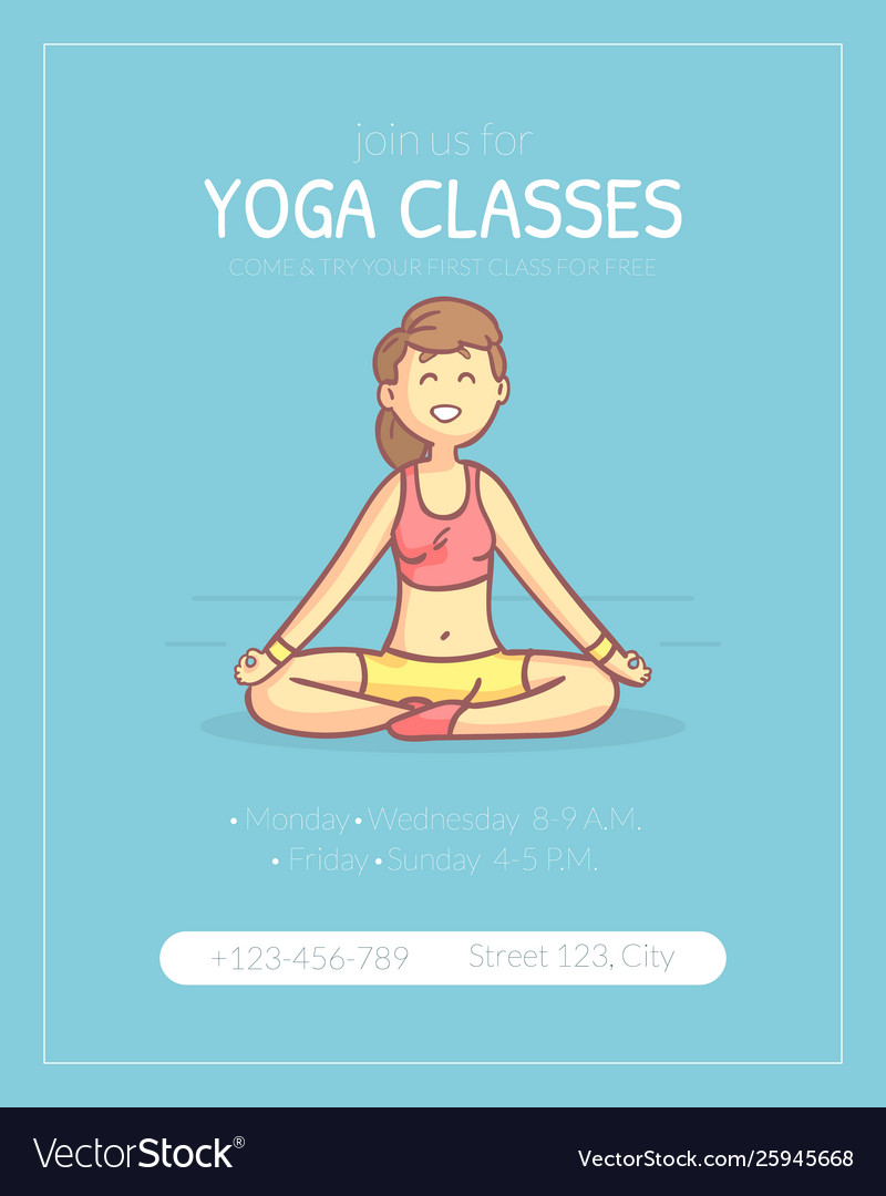 Yoga Classes Banner Template Girl Practicing Yoga Vector Image