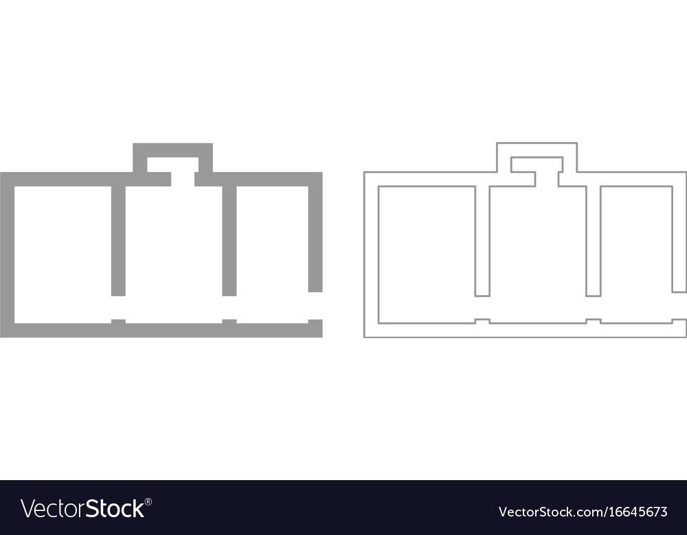 Apartment plan grey set icon