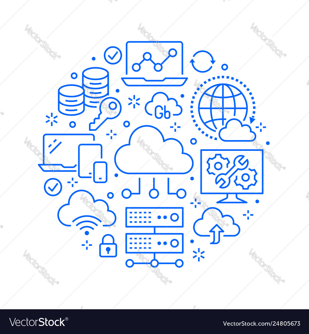 Cloud data storage circle poster with line icons