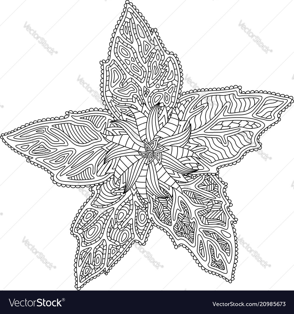 Coloring book page with flower